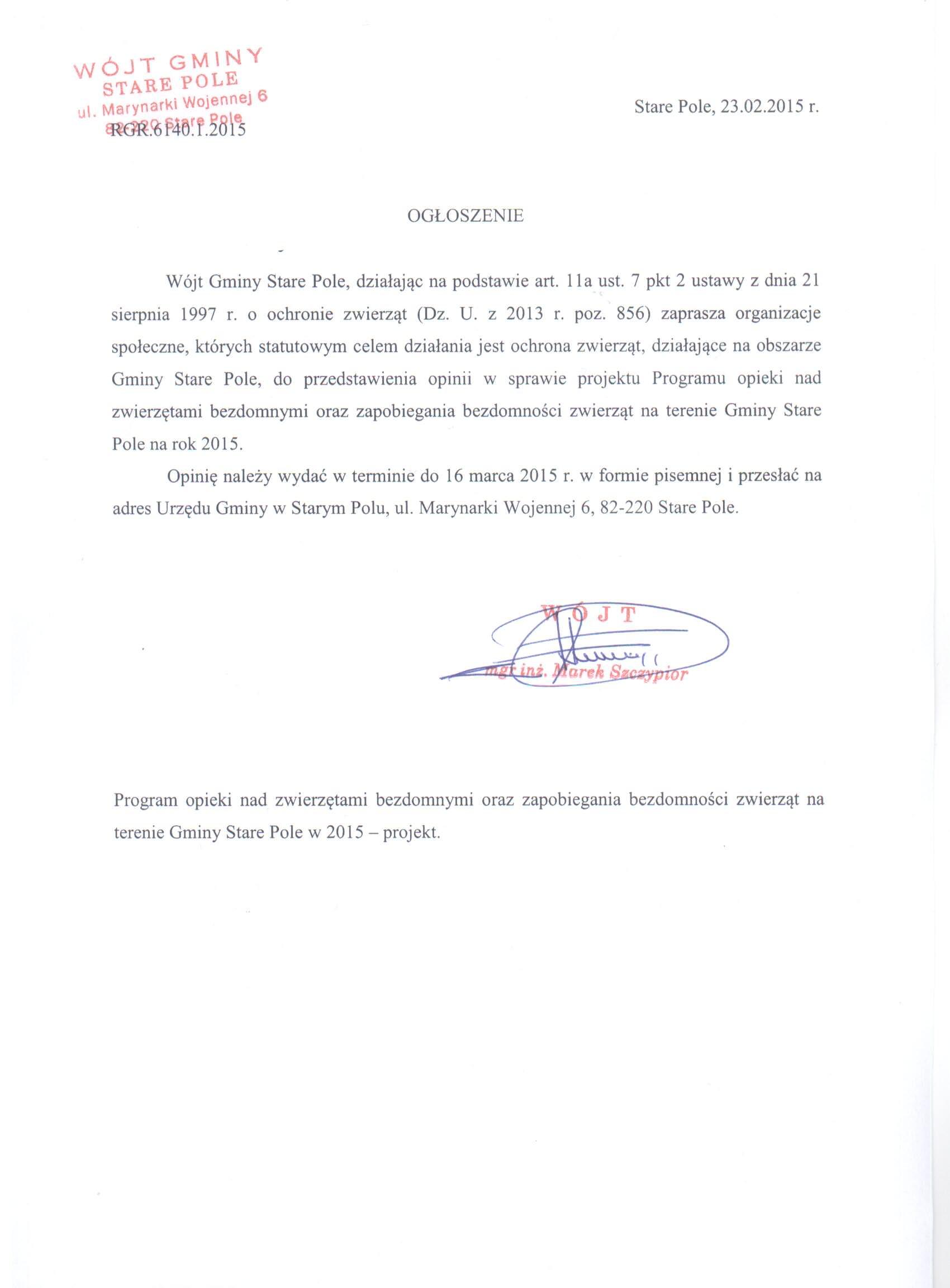Ogłoszenie Wójta Gminy Stare Pole z dnia 23 lutego 2015 r.