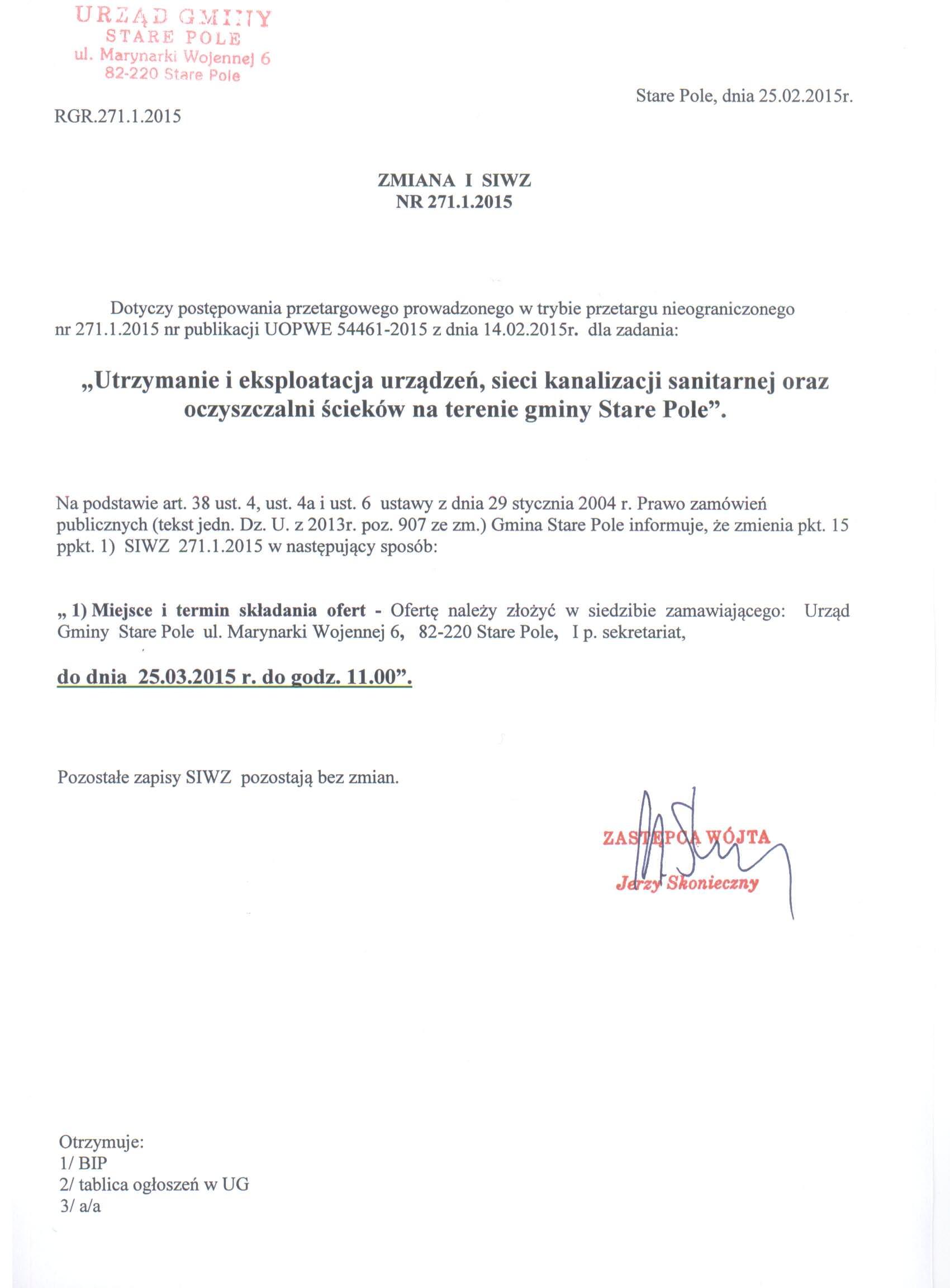 Ogłoszenie o zmianie ogłoszenia