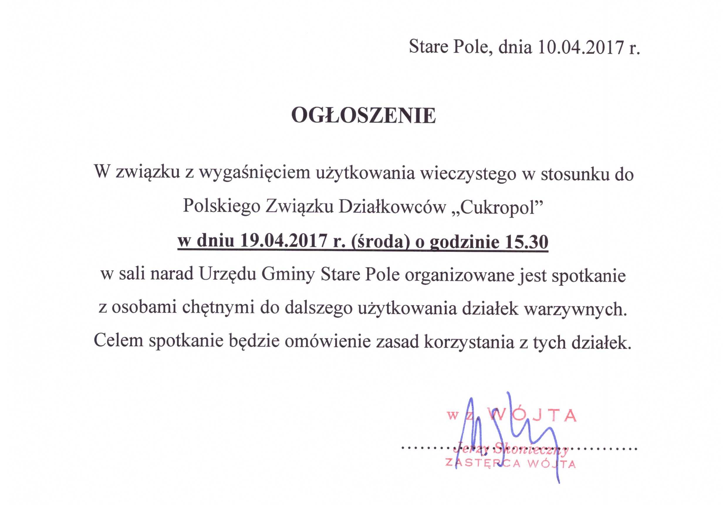 Ogłoszenie Wójta Gminy Stare Pole z dnia 10 kwietnia 2017 r.
