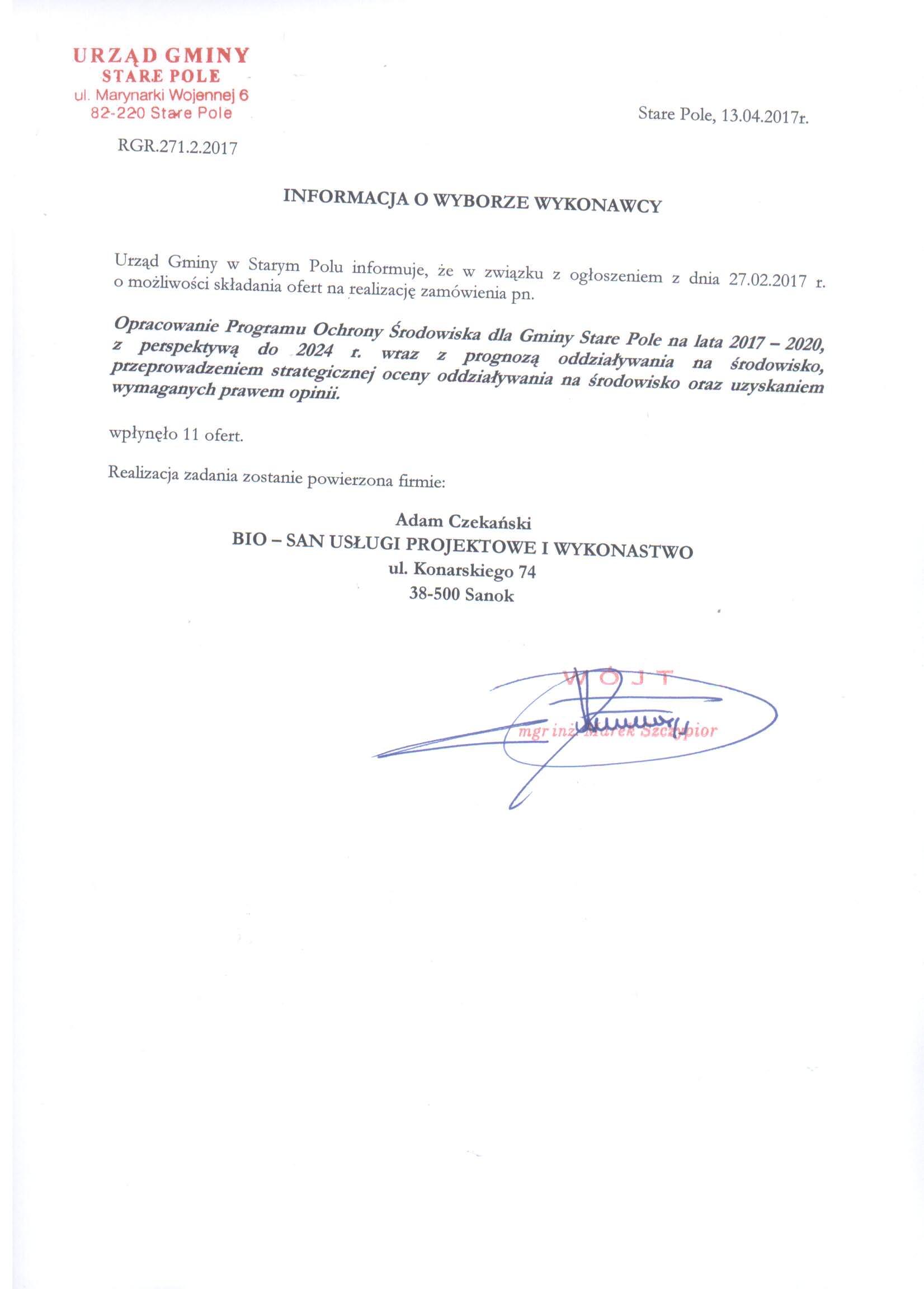 Informacja z dnia 13 kwietnia 2017 r. o wyborze wykonawcy