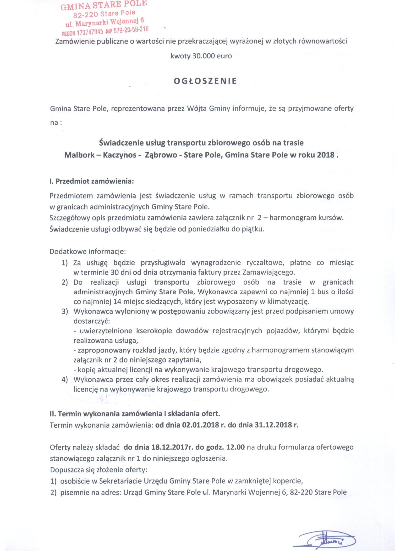 Ogłoszenie z dnia 13 grudnia 2017 r. o możliwości składania ofert - str. 1