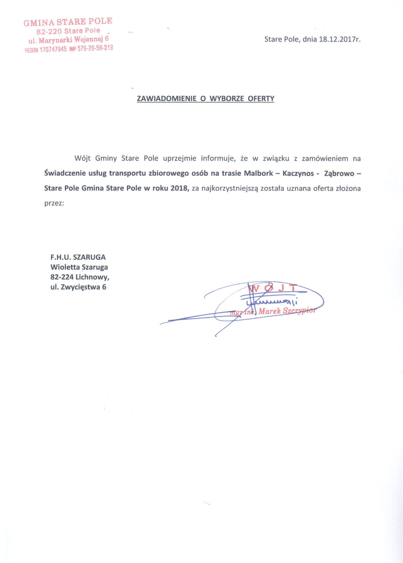 Zawiadomienie z dnia 18 grudnia 2017 r. o wyborze oferty na realizację zadania
