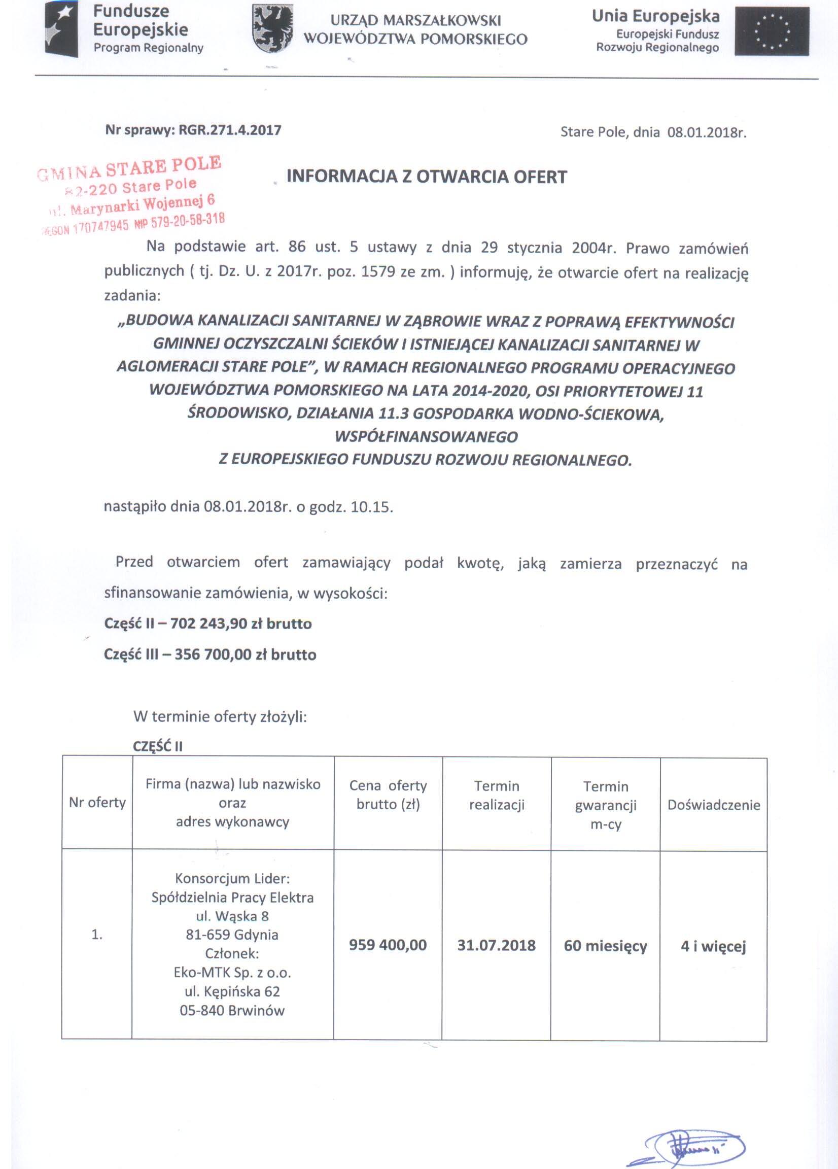 Informacja z dnia 8 stycznia 2018 r. z otwarcia ofert - str. 1