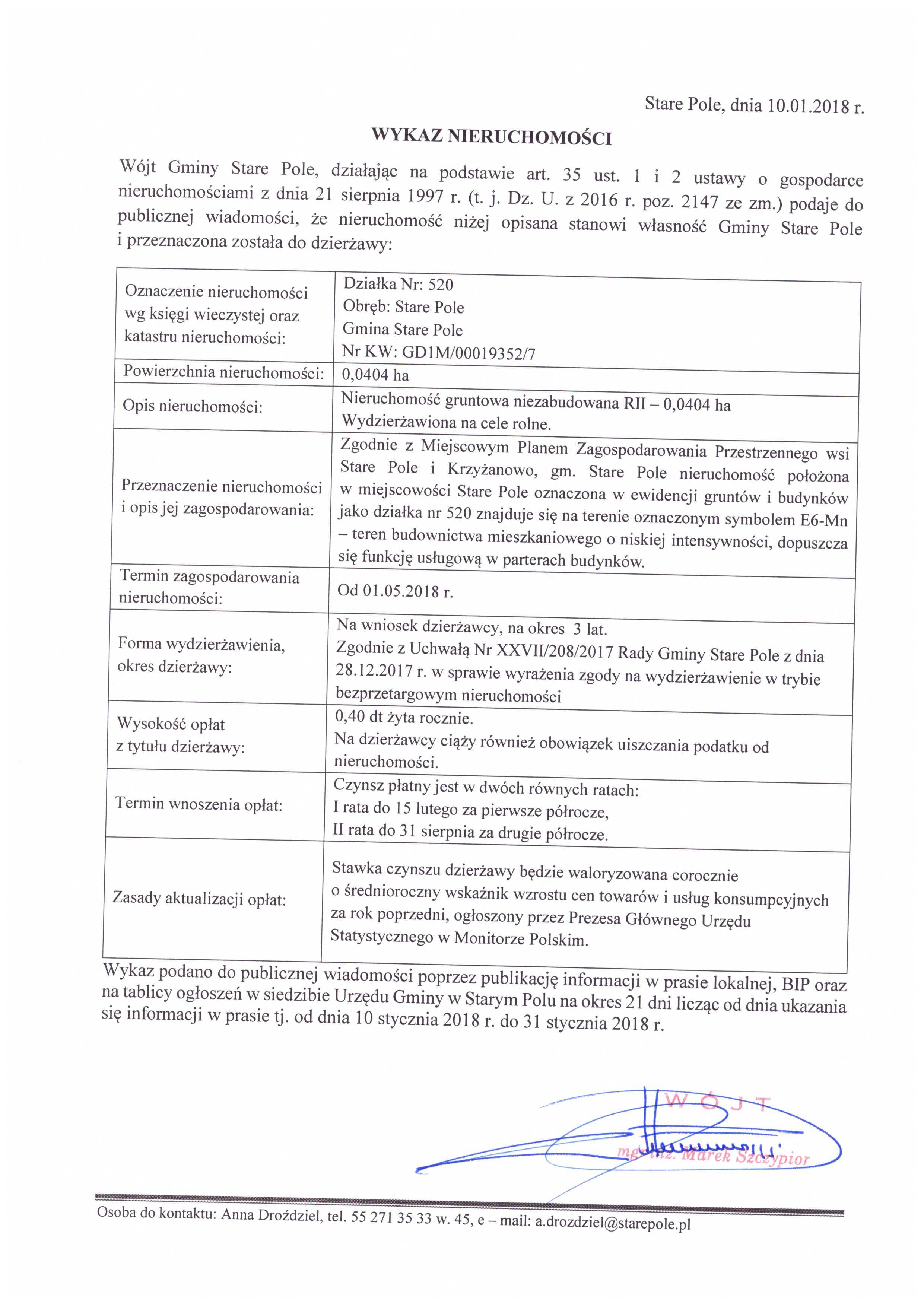 Wykaz z dnia 10 stycznia 2018 r. nieruchomości przeznaczonych do dzierżawy - III