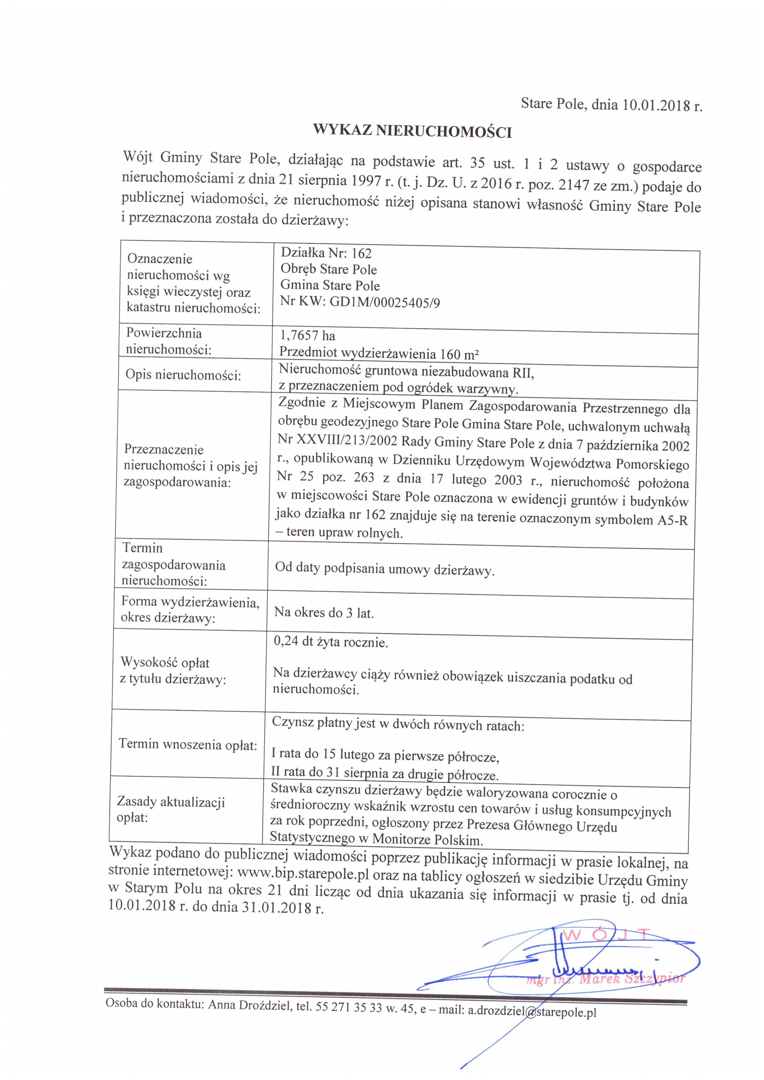 Wykaz z dnia 10 stycznia 2018 r. nieruchomości przeznaczonych do dzierżawy - II