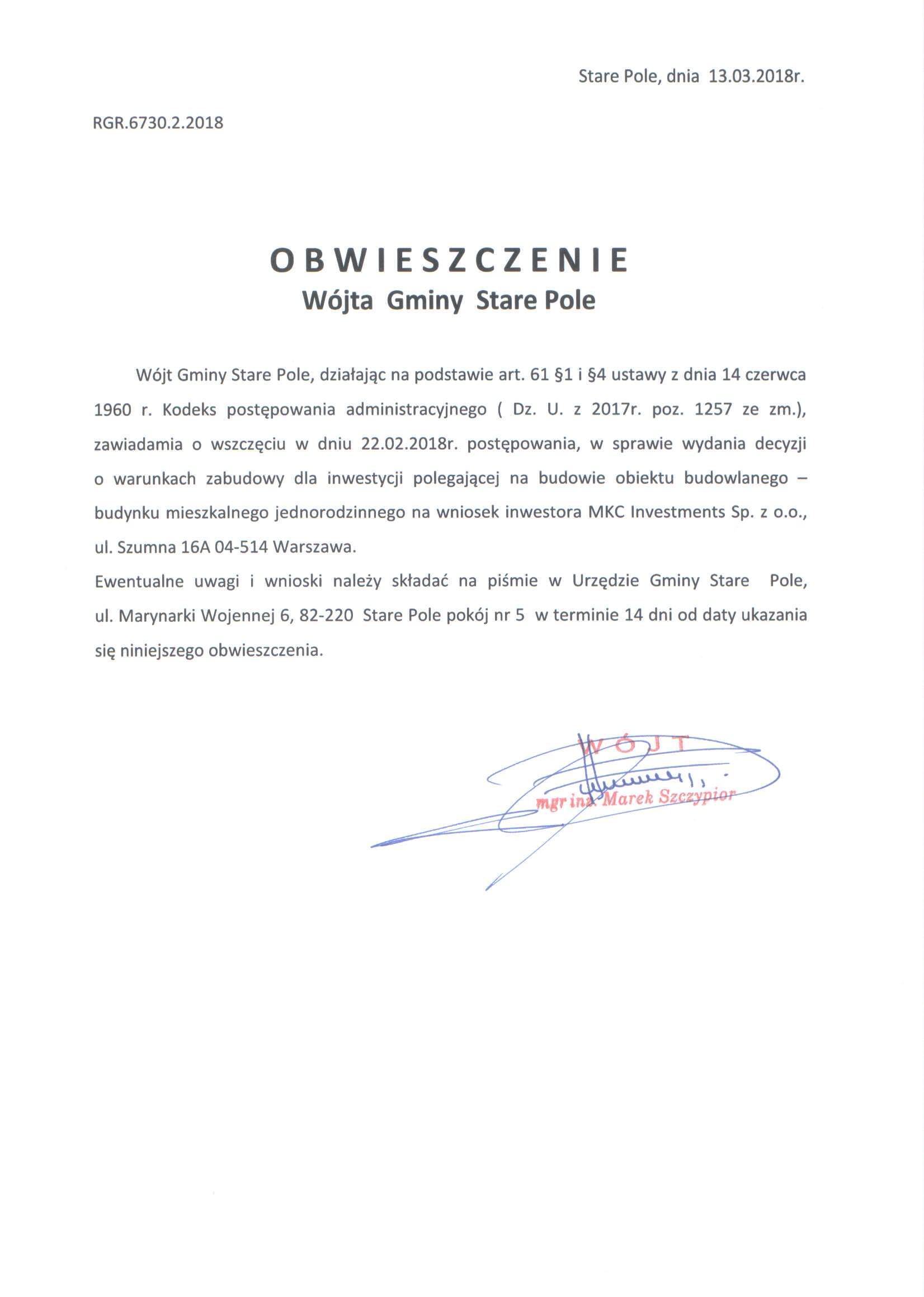 Obwieszczenie Wójta Gminy Stare Pole z dnia 13 marca 2018 r.