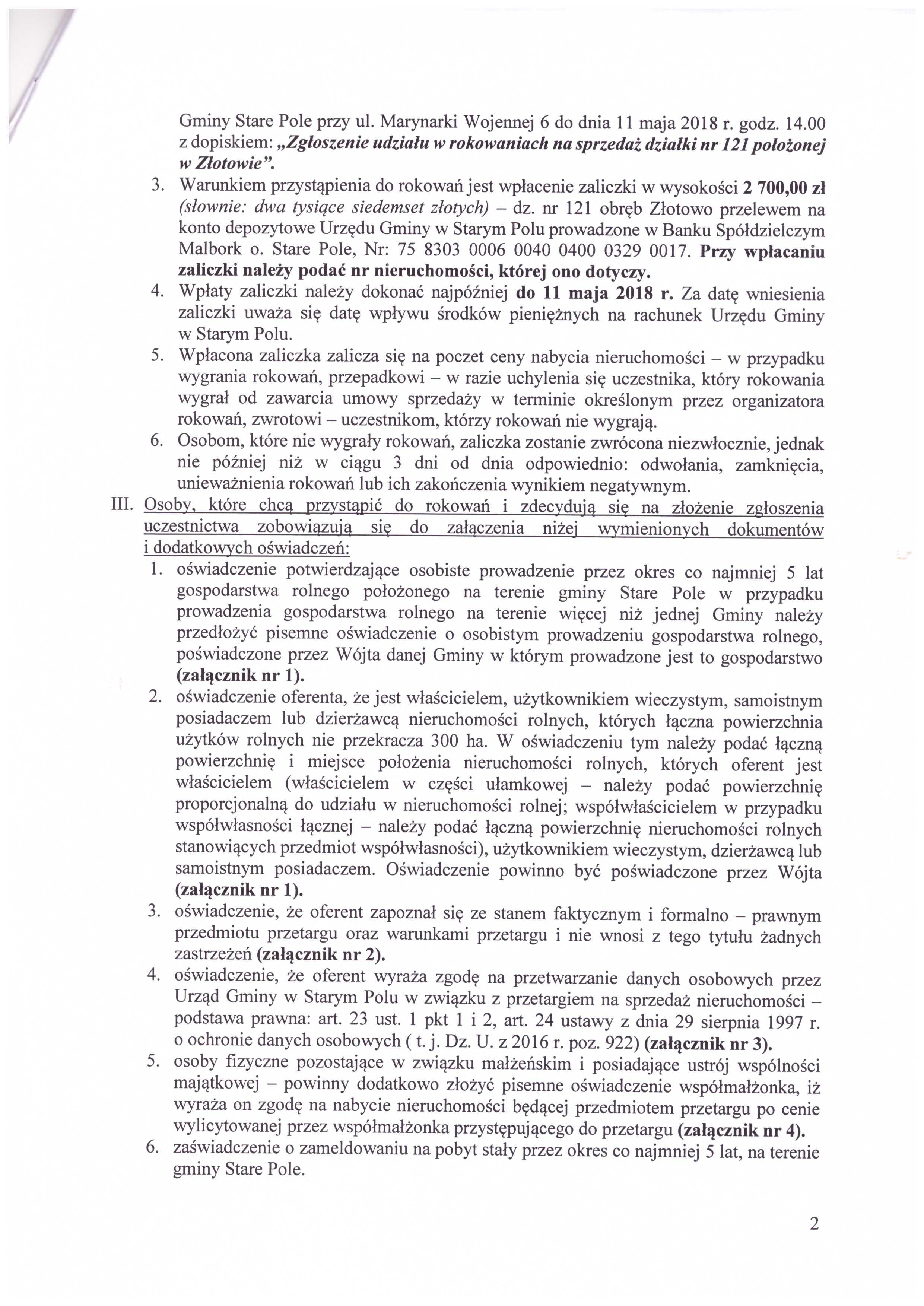Ogłoszenie z dnia 11 kwietnia 2018 r. o rokowaniach - str. 2