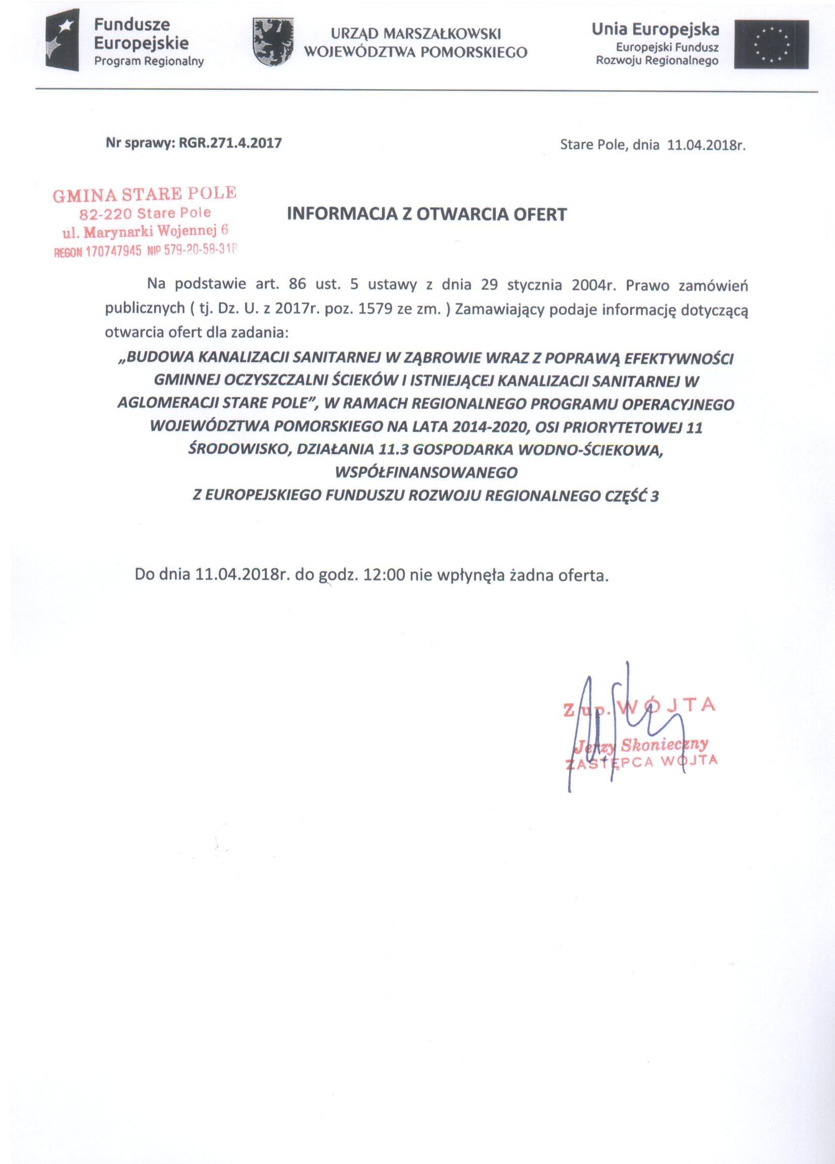 Informacja z dnia 11 kwietnia 2018 r. z otwarcia ofert