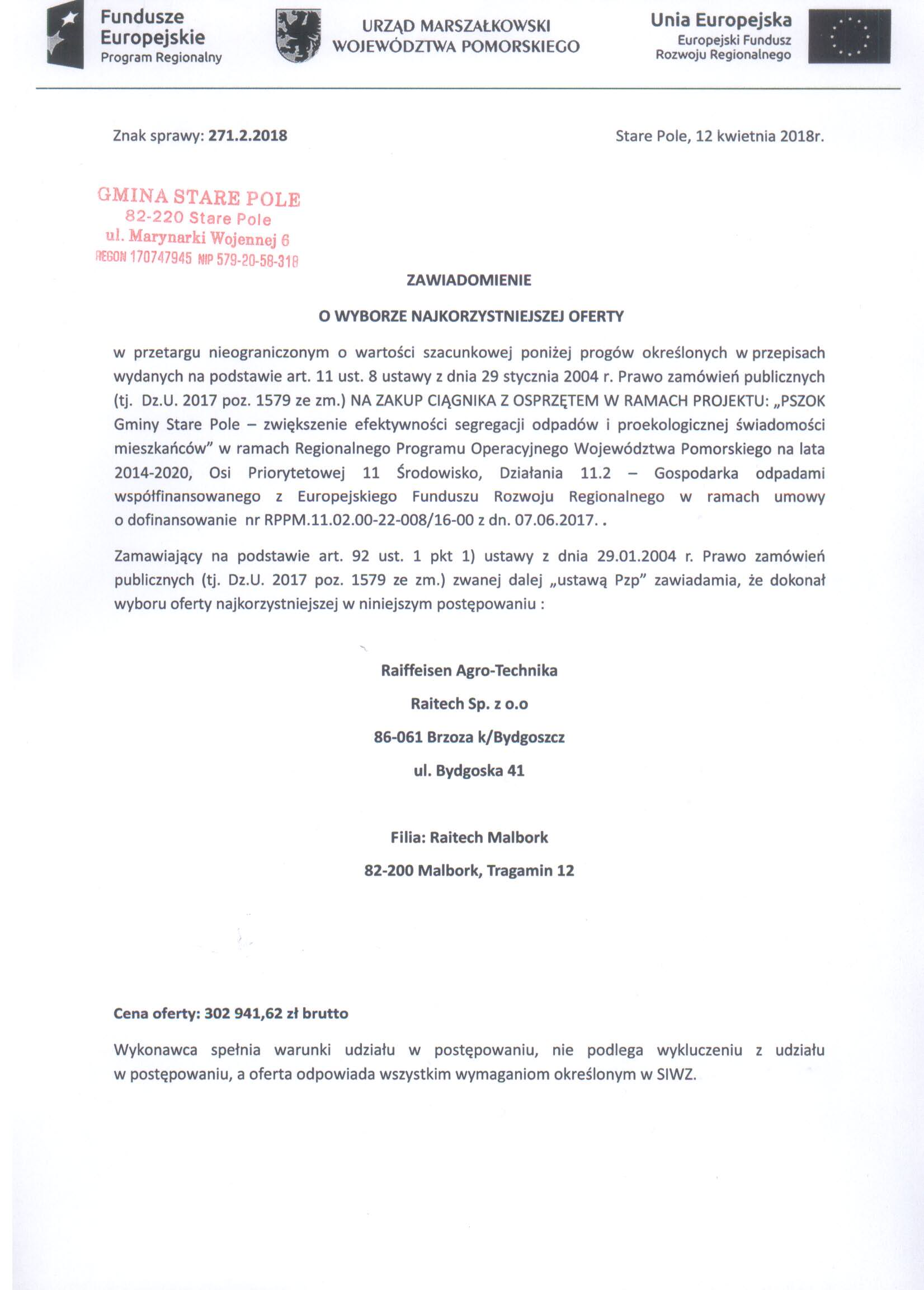 Zawiadomienie z dnia 12 kwietnia 2018 r. o wyborze oferty - str. 1