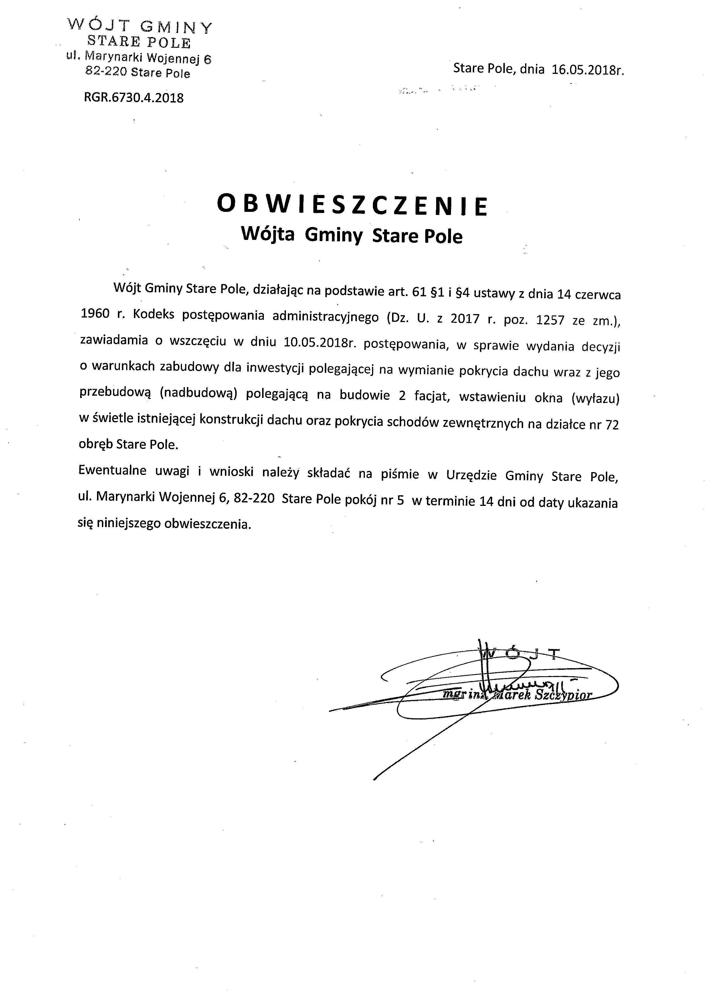 Obwieszczenie Wójta Gminy Stare Pole z dnia 16 maja 2018 r. o wszczęciu postępowania