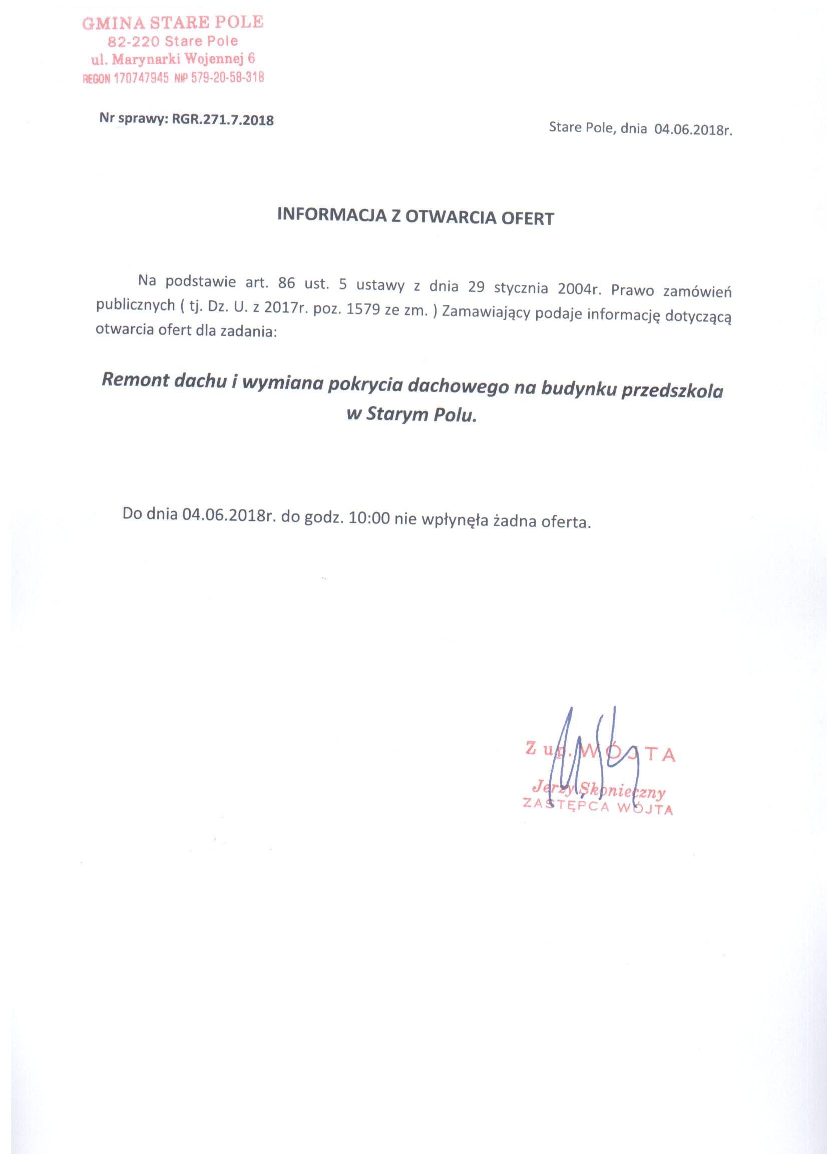Informacja z dnia 4 czerwca 2018 r. z otwarcia ofert