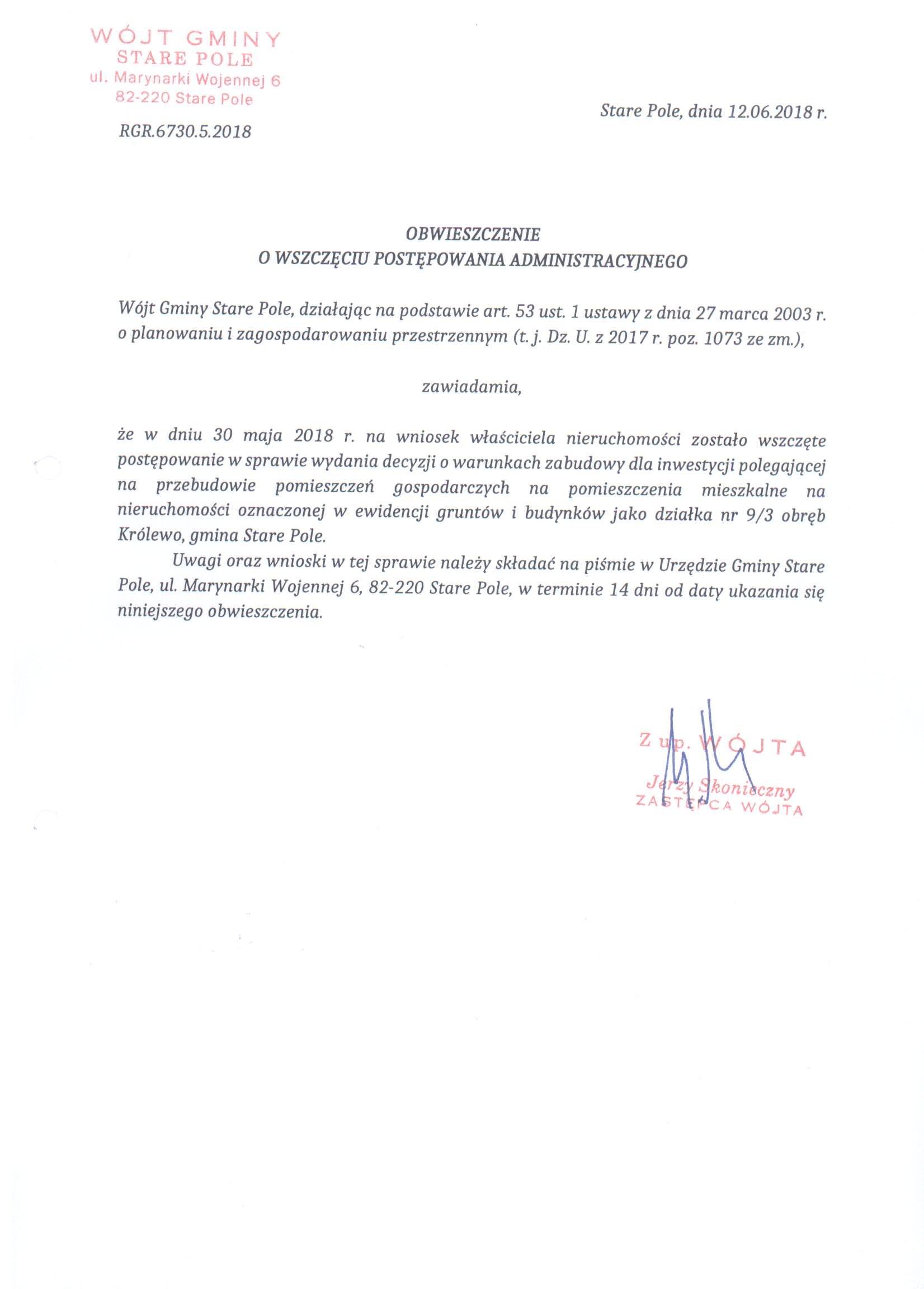 Obwieszczenie Wójta Gminy Stare Pole z dnia 12 czerwca 2018 r.