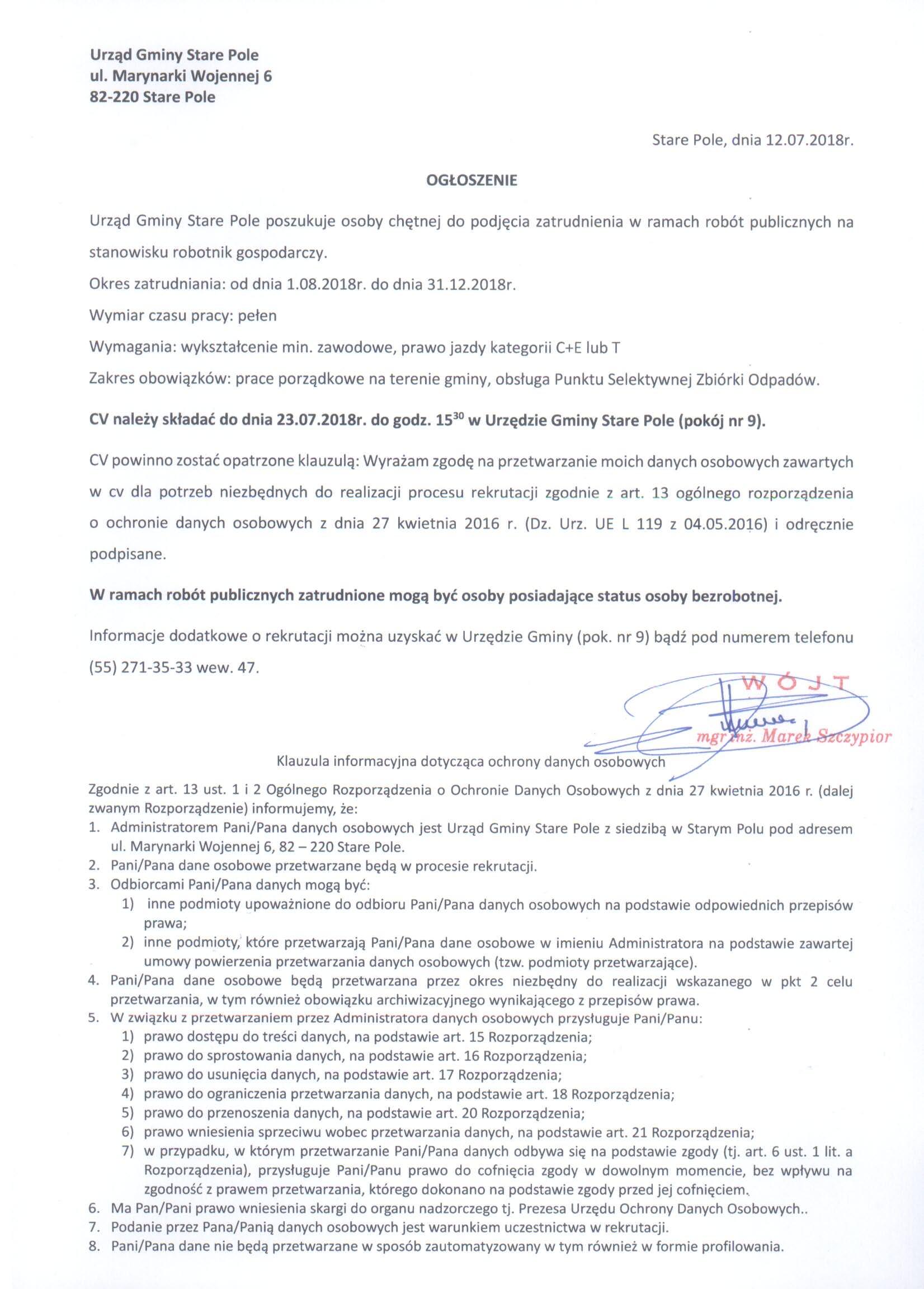 Ogłoszenie z dnia 12 lipca 2018 r. o możliwości zatrudnienia
