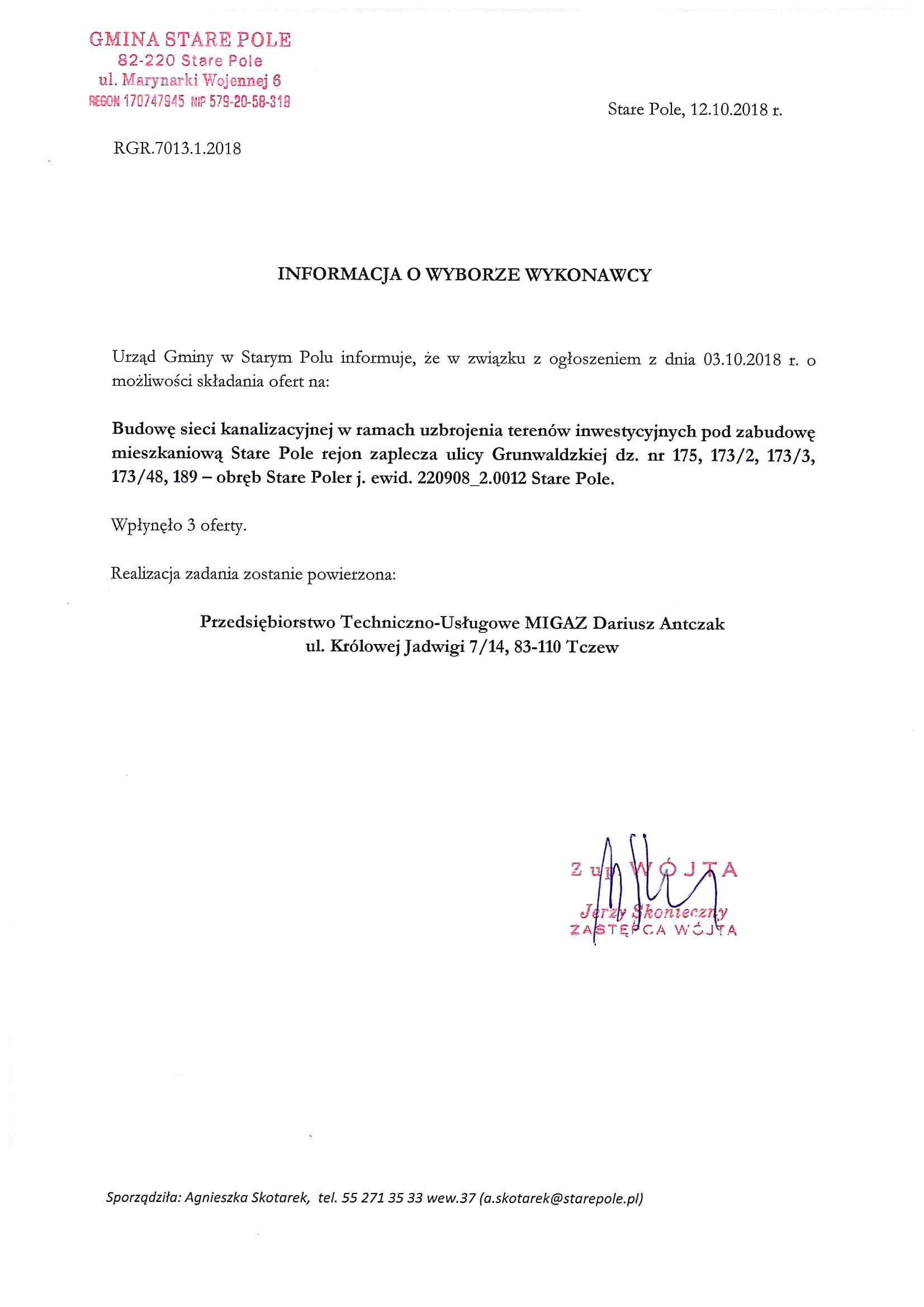 Informacja z dnia 12 października 2018 r. o wyborze wykonawcy