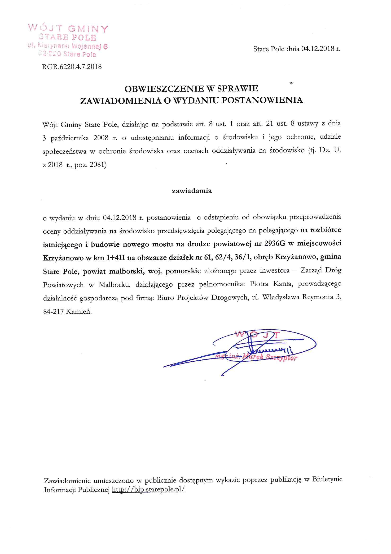 Obwieszczenie Wójta Gminy Stare Pole z dnia 4 grudnia 2018 r.