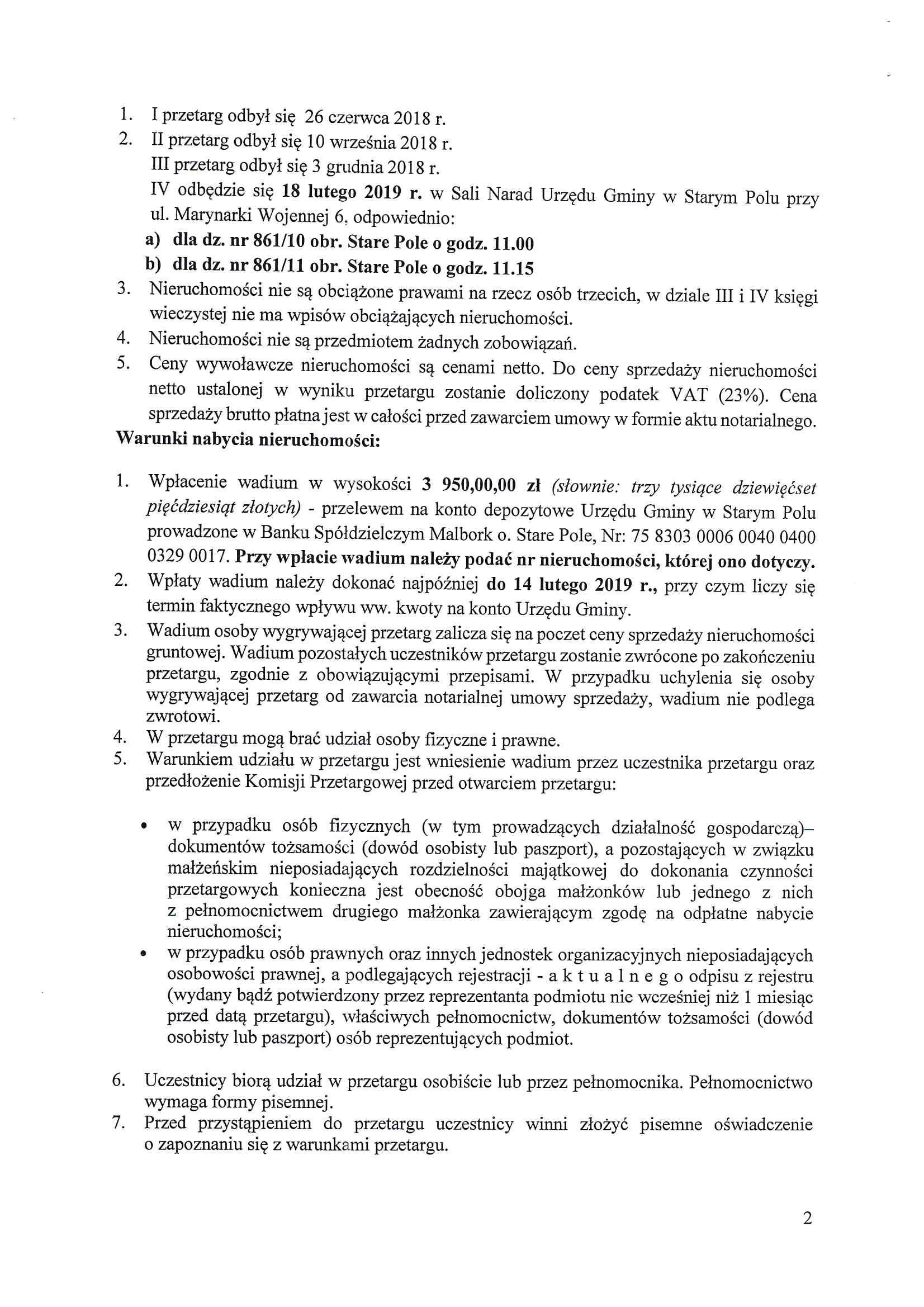Ogłoszenie z dnia 14 stycznia 2019 r. o IV przetargu ustnym - str. 2