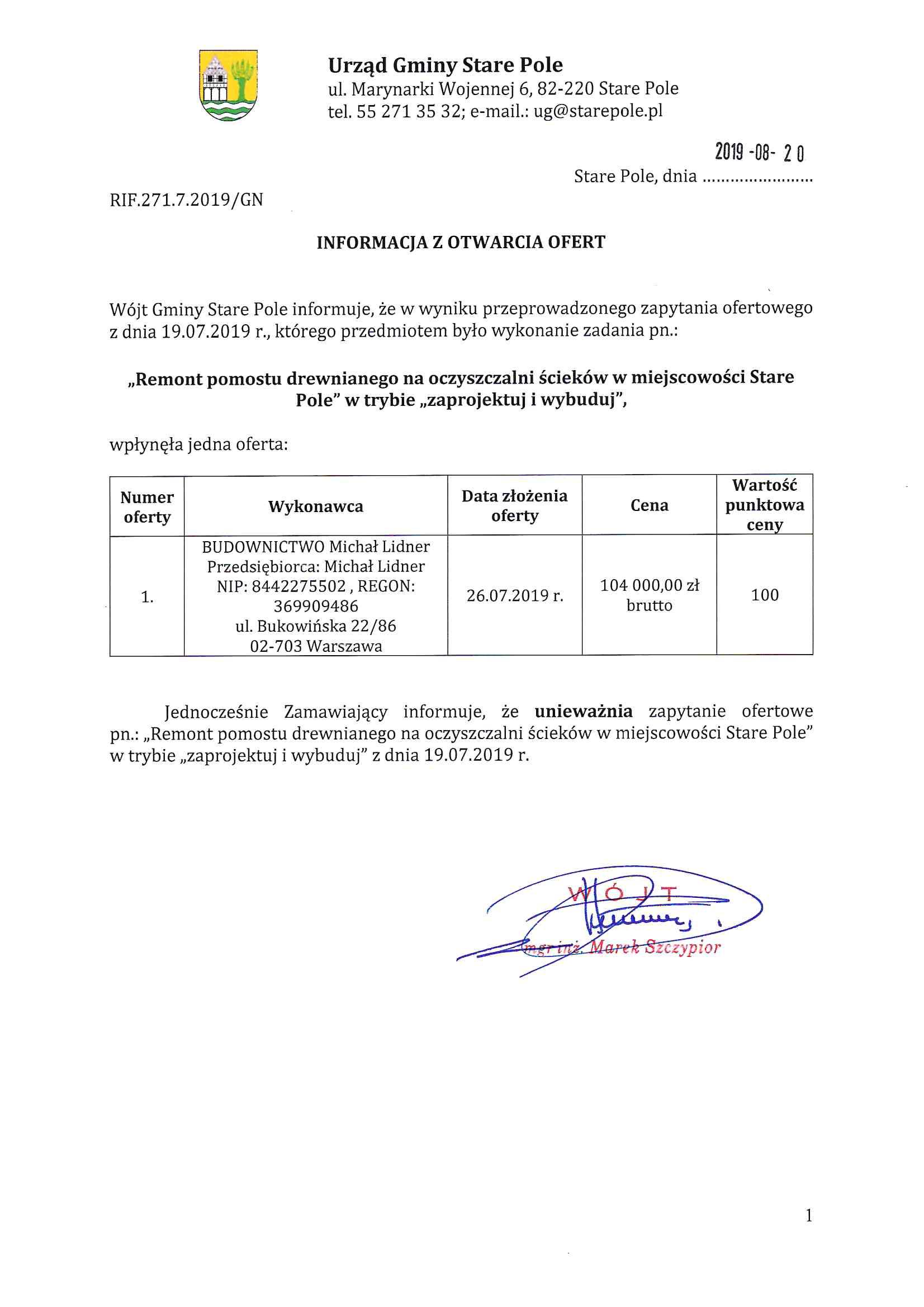 Informacja z dnia 20 sierpnia 2019 r. z otwarcia ofert