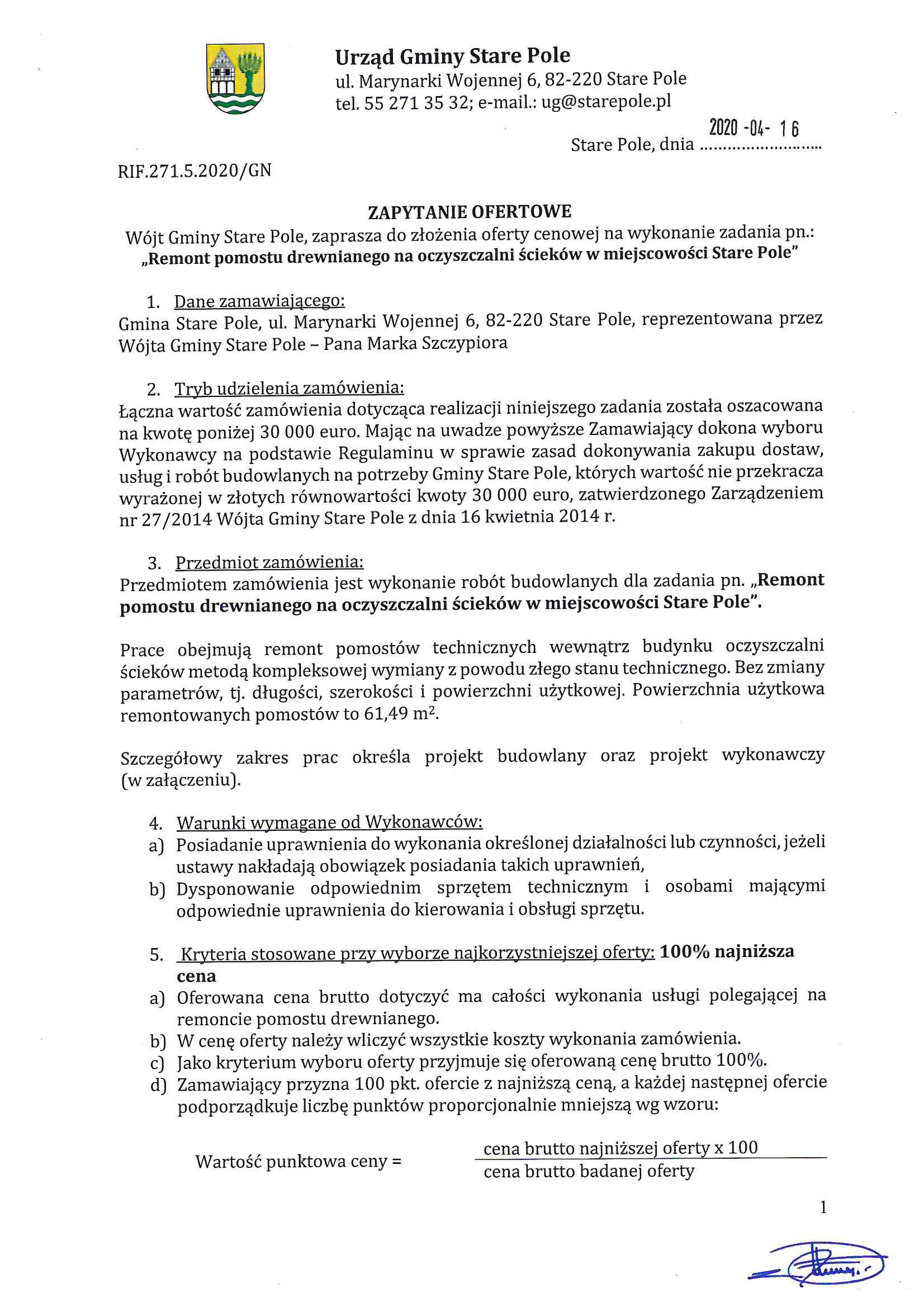 Zapytanie ofertowe z dnia 16 kwietnia 2020 r. - str. 1
